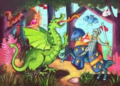 £10.00 DJECO The Knight at the Dragon's,  Jigsaw Puzzle - Beautiful bright puzzle for kids.  54 piece jigsaw puzzle.