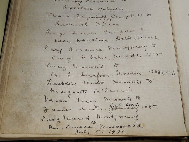 The Macneill Family Bible. The last entry is the marriage between L.M. Montgomery and Ewan Macdonald Photo by Bernadeta Milewski LM Montgomery Institute and UPEI Robertson Library (University Archives and Special Collections)