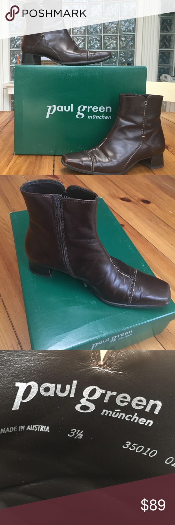 Paul Green Munchen Booties Rich chocolate brown leather ankle boots with top stitch detail. Side zip. Very comfortable! Top quality and style! Very good pre-owned condition. US size 6. PRICE DROP! Paul Green Shoes Ankle Boots & Booties