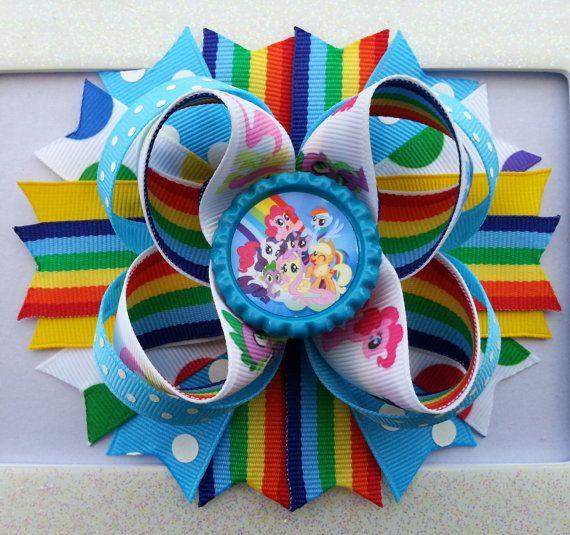 My Little Pony Rainbow Dash Inspired Hair Bow /My Little Pony Birthday Hair Bow /Rainbow Dash Hair Bow
