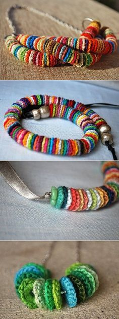 Círculos em crochet - um colar! Crochet Circles for Necklace or Bracelet cute mexican folk art style crochet necklace craft idea
