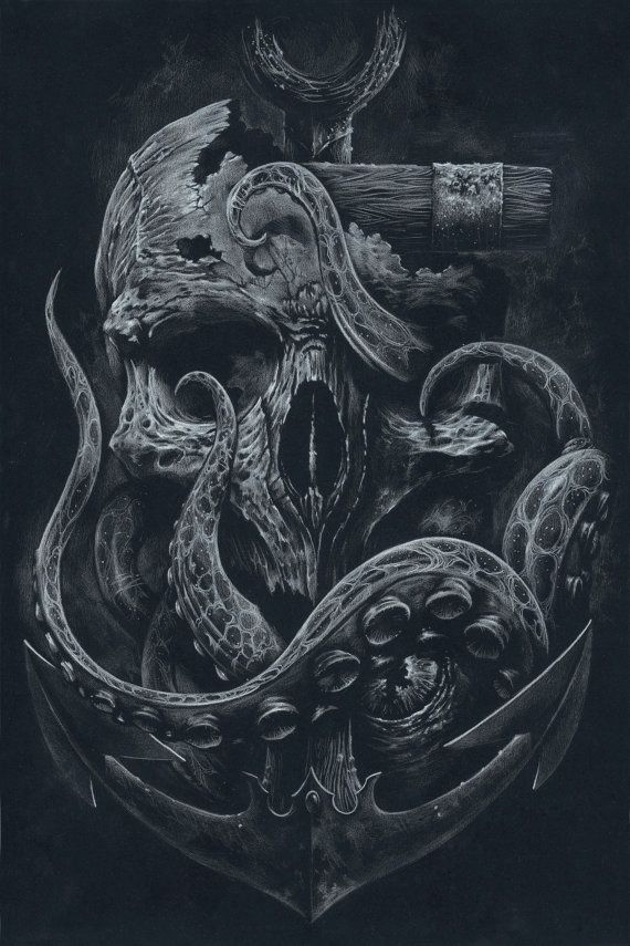 THE LOCKER Custom Print Octopus Skull Anchor Black by grabinkART in Illustration