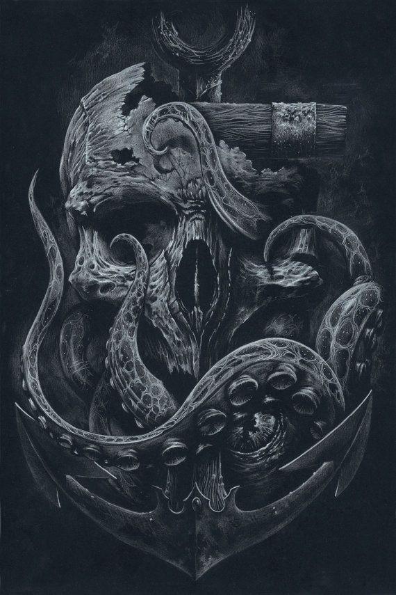 THE LOCKER Custom Print Octopus Skull Anchor Black by grabinkART in Illustration