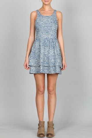 ANIMAL PRINTED DENIM DRESS WITH LACE UP