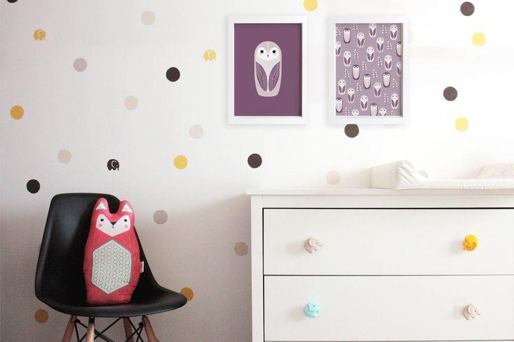 SNOW OWL print set #cute #owl #snowowl #illustration #design #wallart #kidsroom #decoration #nursery #print