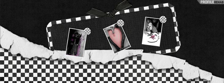 Black and White Emo Checkers Facebook Cover - Romantic Kiss Images Preview
