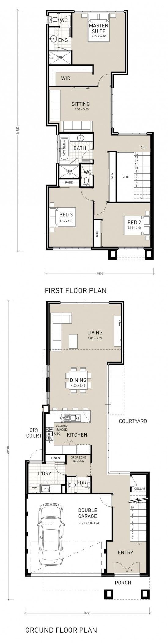 18 best images about narrow block plans on pinterest for Block home plans