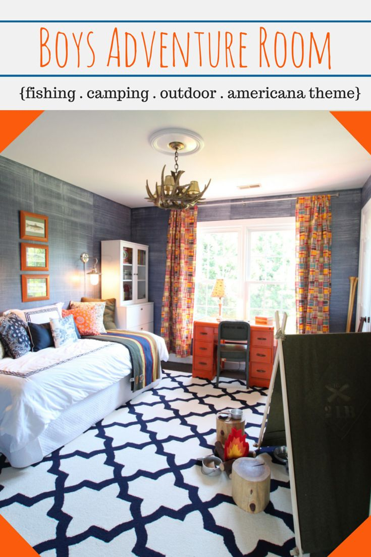 Heathered Nest boys outdoor adventure room, denim paint, DIY tent, fishing, camping, americana theme http://www.heatherednest.com/2014/09/a-space-for-sweet-cheeks.html