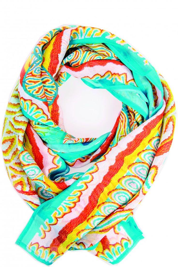 Waterbird Scarf Top - Digitally printed silk chiffon featuring authentic aboriginal dreamtime design