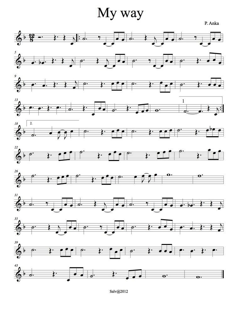 Partitura del famós tema My way, adaptada a la flauta soprano.