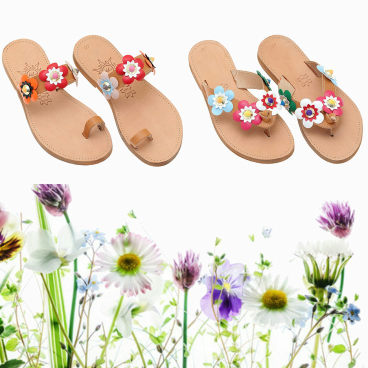 ⏳ Spring is on the way... Get ready and shop your spring sandals NOW! Handmade leather sandals for women, embellished with leather flowers. Spring your style up!