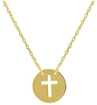 Amanda Rose Collection Amanda Rose 14k Yellow Gold Cross Disc Necklace On An Adjustable 16-18 In. Chain.