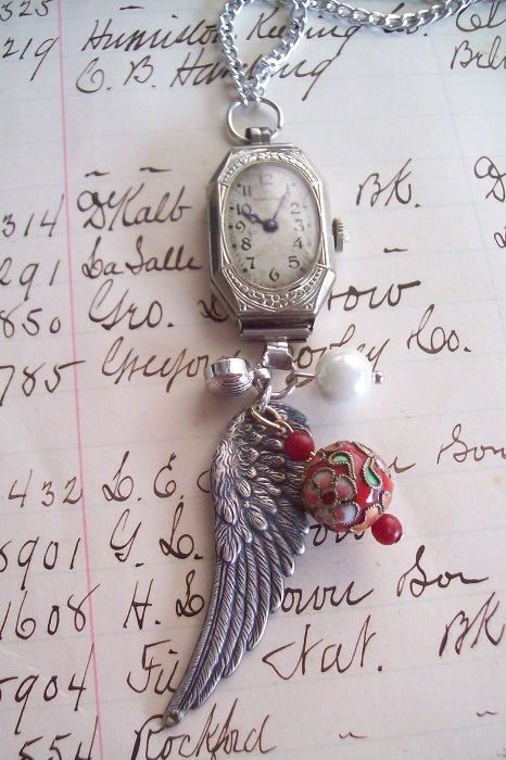 Repurposed Antique Ladies Wrist Watch With Wings Necklace