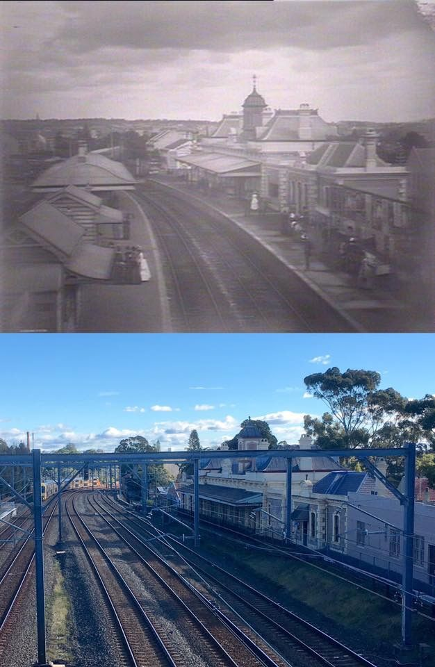 Petersham Station, looking west from the footbridge in c1900 > 2017. [State Library of NSW > Phil Harvey. By Phil Harvey]