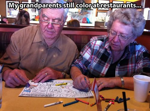Those lovely old couples show their true love in an elegant and funny way.