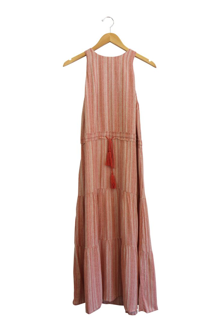 Coral and Cream Printed Maxi  Sleeveless   Tie Around Waist  Key Hole in Back