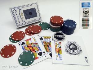 Detalle Baraja con fichas 48 poker Regalo invitados para Caballero Regalo,Poker 100 fichas,2 barajas #Grandetalles