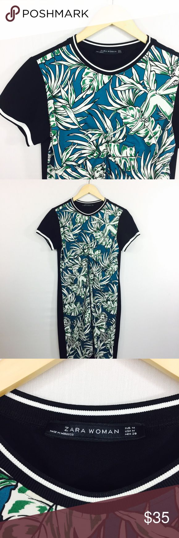 Zara Hawaiian print Floral shift dress crew neck Stay fashionable with this beautiful Zara Hawaiian print dress. Dress it up with some sandals or dress it down with some sneakers Approximate measurements laying flat bust 18 inches Length 36 inches Make me an offer and thank you for visiting Zara Dresses Midi