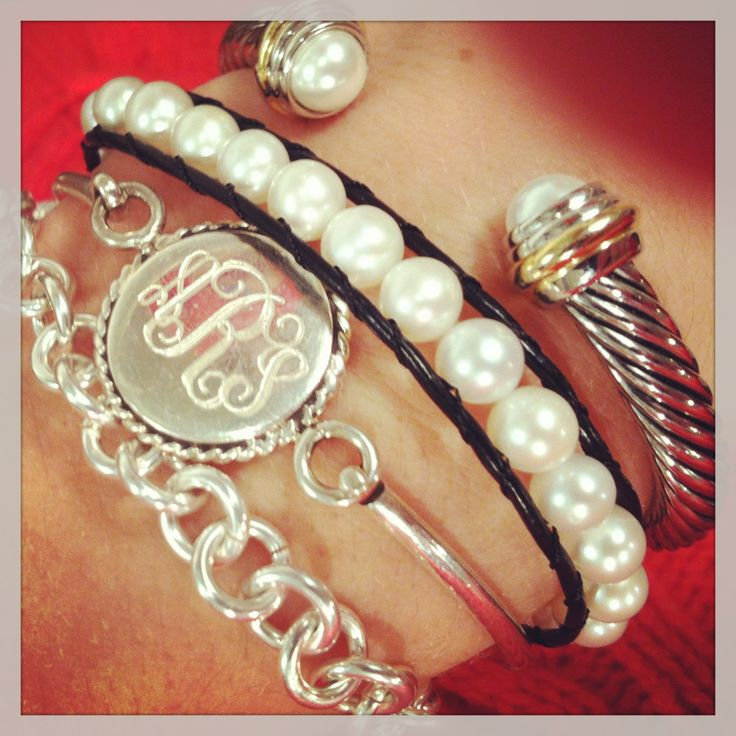 Our Sterling Nautical Monogram Bracelet plays well with others! #sterling silver