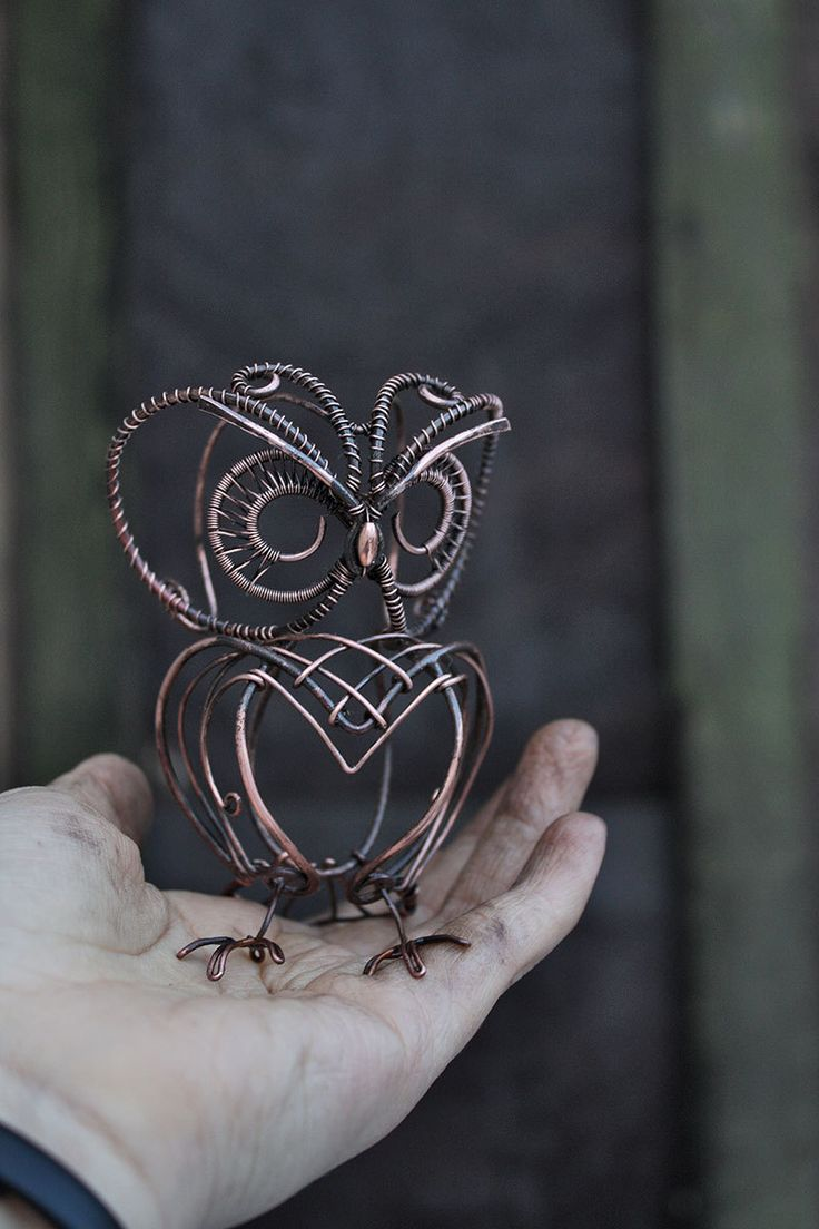 Owl Sculpture Mini real wire wrapped owl Metal owl
