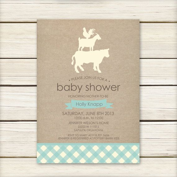 farm baby shower invitation baby shower invitaiton blue baby shower
