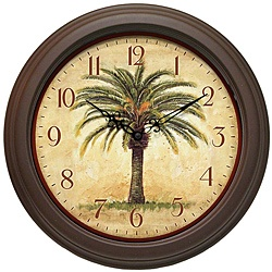 @Overstock.com.com - This decorative wall clock features a hearty palm tree on a parchment color background. A brown matte finished frame and Arabic numerals finish this tropical wall clock.http://www.overstock.com/Home-Garden/Cabana-12-inch-Brown-Palm-Tree-Resin-Wall-Clock/6527355/product.html?CID=214117 $29.41