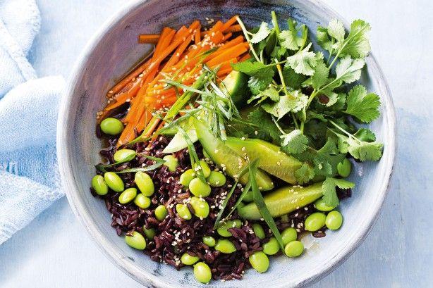 Edamame and black rice salad