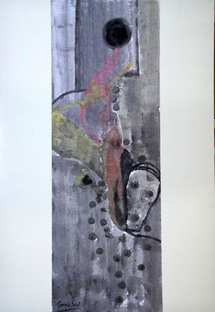 My reserve Diluited tempera, laminated paper on canvas, 35x100 cm, 2001