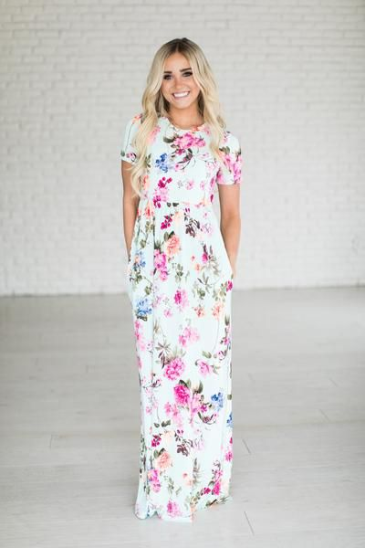 White flowy dress with pink flowers