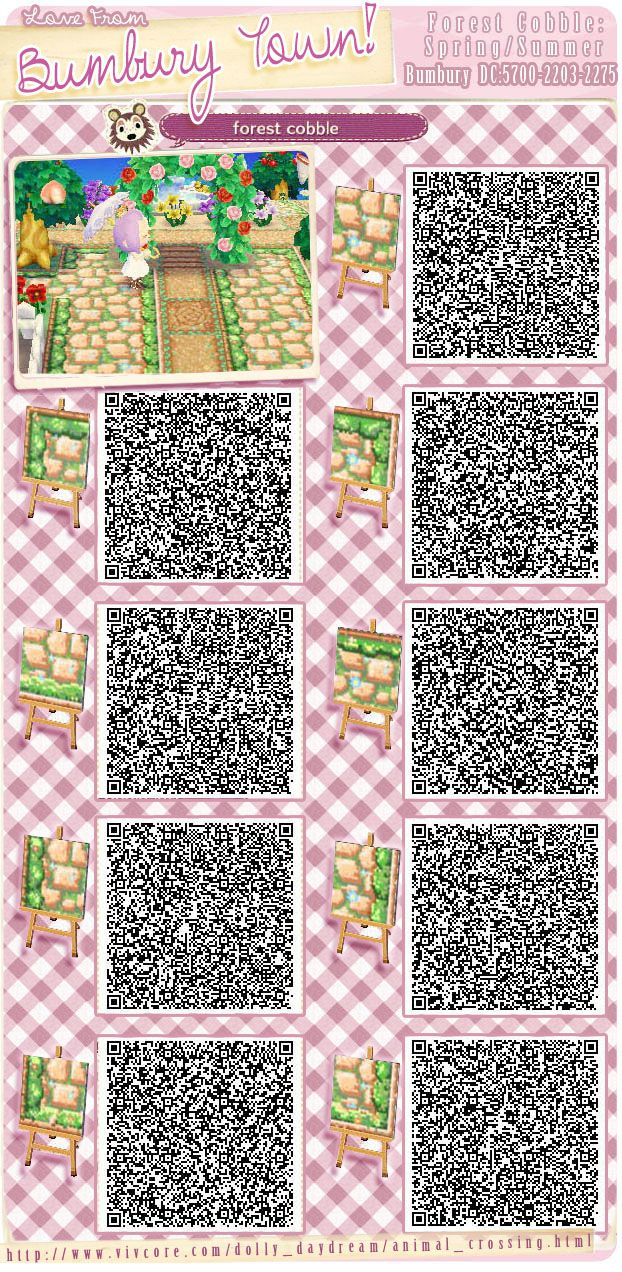 mischacrossing: I've seen these paths before (currently using them in my town), but I haven't seen all the seasonal variations in a post together. super easy to replace the QR codes season to season without having to rearrange everything. (source)