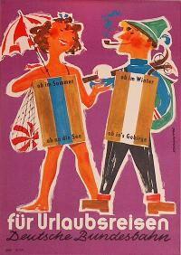 Railroad Poster: DB - für Urlaubsreisen by Heinz Grave-Schmandt   $150