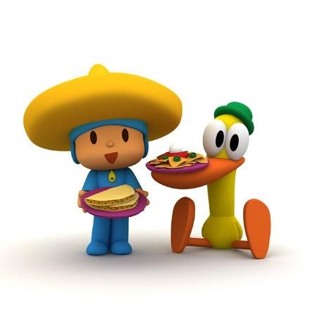 Mexican Pocoyo with sombrero de charro, nachos and quesadillas.
