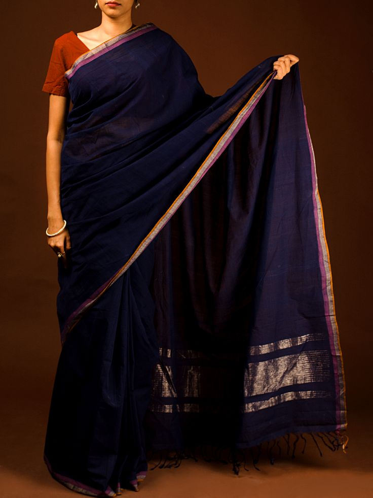 Blue Cotton Khadi Saree Available At http://www.eindianaugust.com/sarees/cotton-sarees