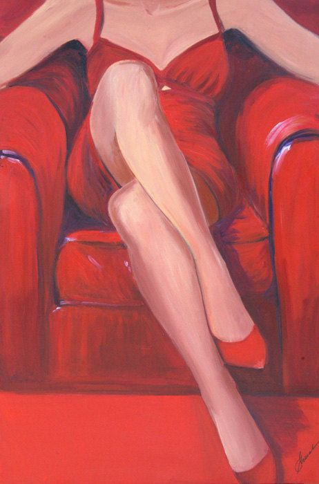 Woman art print Woman in red dress and red shoe by SherisArtStudio, $29.00