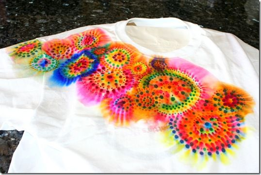 "Sharpie Tie-Dye. You'll have to work your way throughthe other 24 camp craft ideas or skip to page three as the sharpie tie-dye project is almost the last one. Sounds like a lt of ""Clean"" fun, if you've done tie-dye's inthe past you'll know what I mean, & not to expensive. Grat fun with the kids & yo can relive your Hippie days on the side ;)"