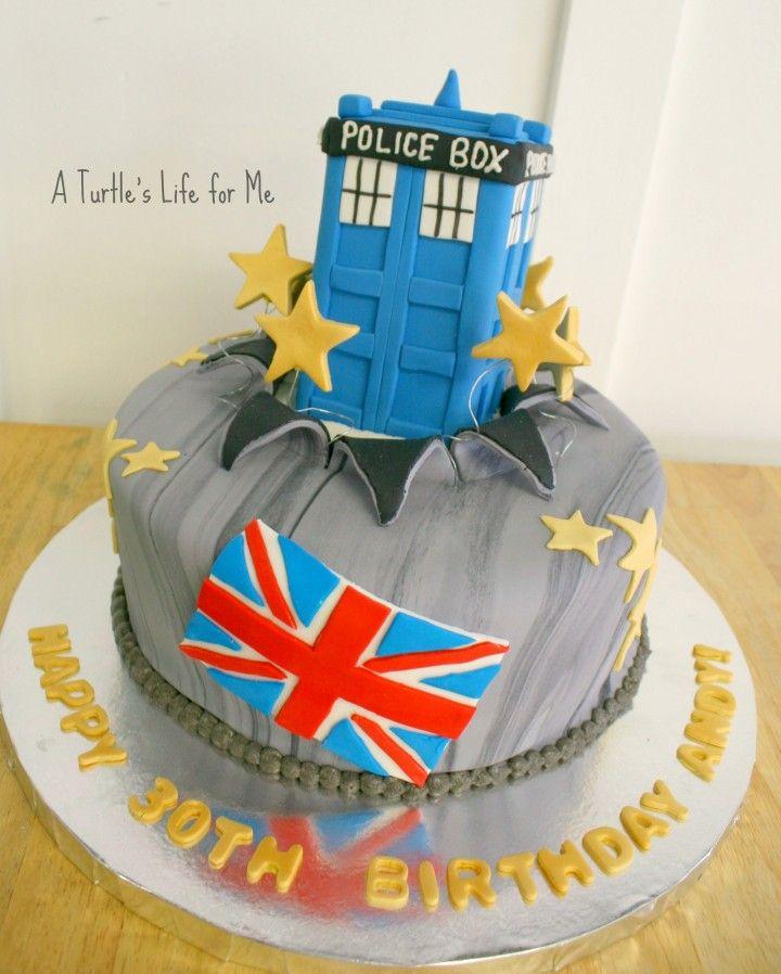 Doctor Who birthday cake with fondant and rice krispie cake topper tutorial by A Turtle's Life for Me