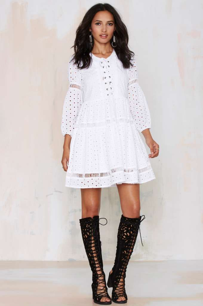 Nasty Gal Michela Eyelet Dress - LWD | Fit-n-Flare | Dresses
