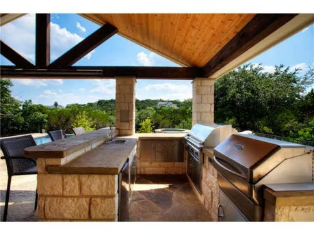 Outdoor grilling area: I feel like this is doable... love the outdoor trusses