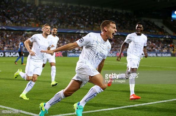 News Photo : Marc Albrighton of Leicester City celebrates...