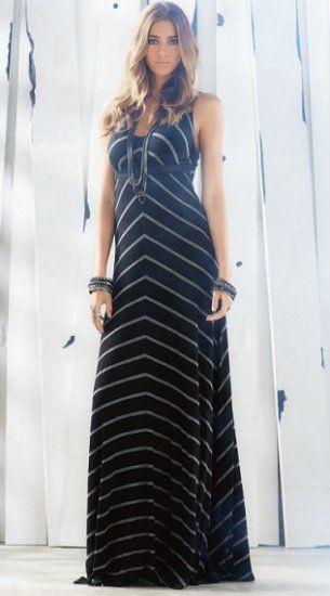 Elan Spaghetti Strap Maxi Dress in Black