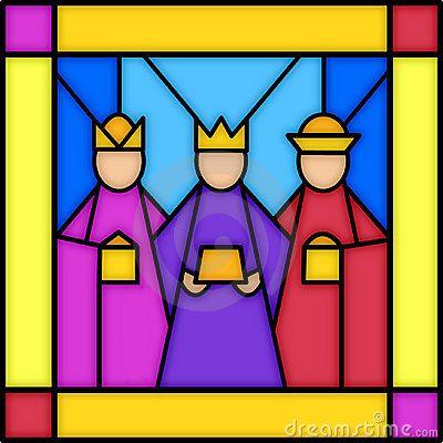 Três reis no vidro manchado