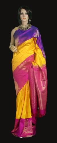 Yellow Kanjeevaram Saree with Double Color Pink and Violet Border