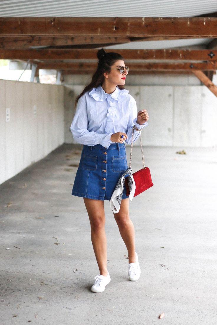 Trend Report: Frilled Shirt   Button Up Denim Skirt   Superga Sneaker   Prada Round Sunglasses