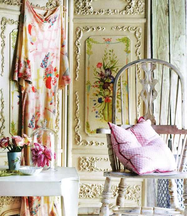 Photographed by Anson Smart, styled by Lara Hutton for Country Style Australia. http://dustjacketattic.blogspot.comDecor, Soft Colors, Shabby Chic, Interiors, Wall Treatments, Boho, Bohemian Style, Flower, Pretty Stuff