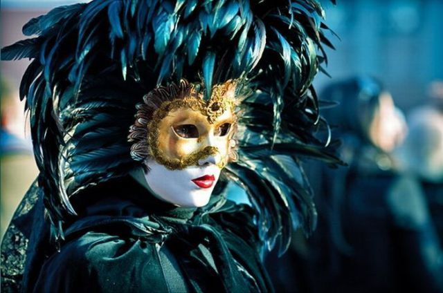 dark teal Venetian mask