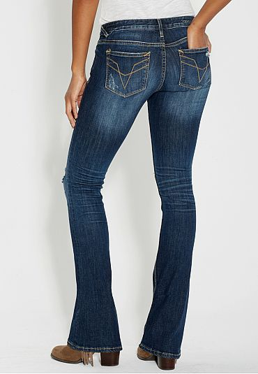 vigoss ® slim boot jeans with destruction - maurices.com