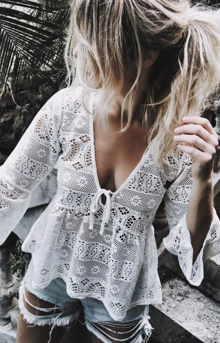 lace bell sleeve tops + distressed denim shorts
