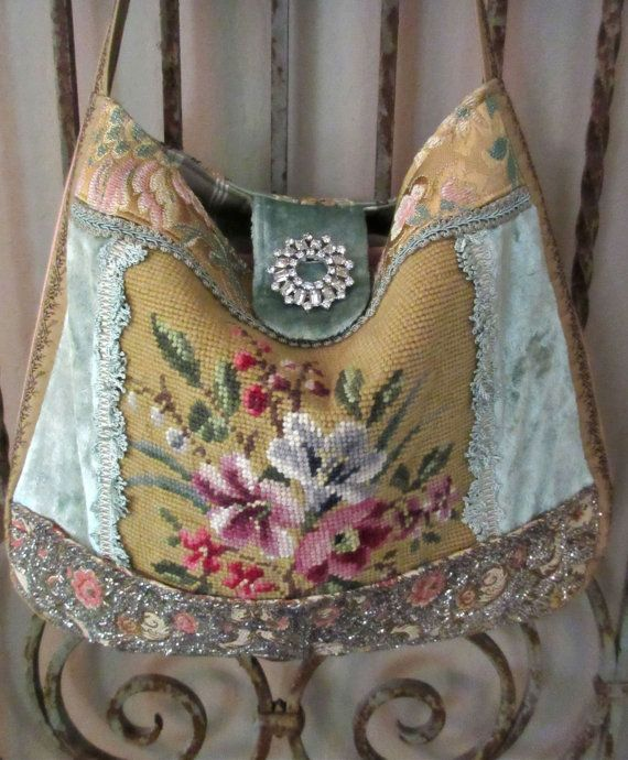 Vintage Needlepoint Flowers Silk Velvet French by LadidaHandbags