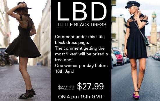 """Romwe little black dress for Valentine's day! Only $27.99, up to 35%off!  24 hours only on 16th January. Comment under the product page and try to get as more likes as you can! The comment which gets the most """"likes"""" will be prized with a free one as gift! We will choose one lucky girl every day before 16th Jan.! Already started! Don't miss, girls! Go: http://www.romwe.com/romwe-mesh-peak-collar-little-black-skater-dress-p-76761.html"""