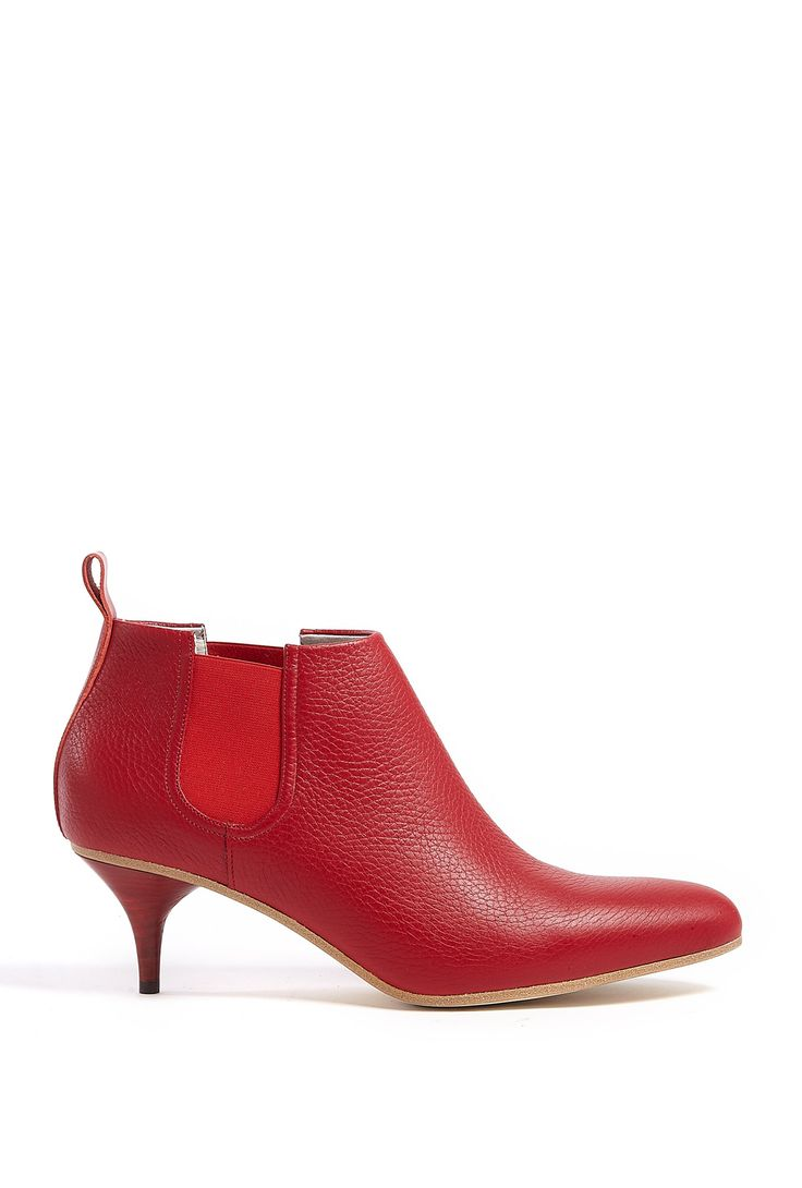 ACNE  RED PATENT FINISH PALMA KITTEN HEEL BOOTS